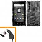 For Motorola XT860 4G Car Charger +Hard Case Carbon Fiber