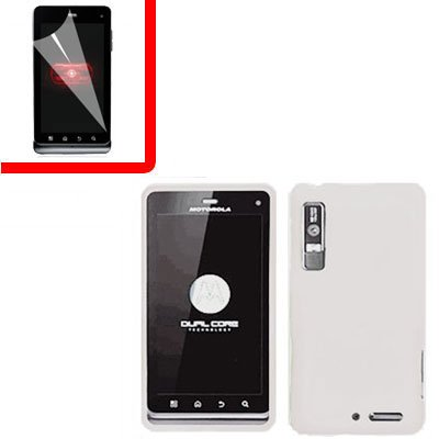 For Motorola XT860 4G / Droid 3 Cover Hard Case White +Screen 2-in-1