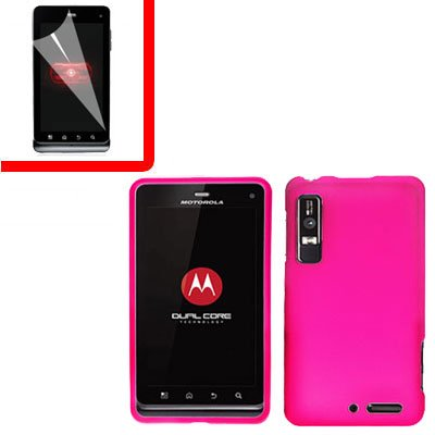 For Motorola Droid 3 XT862 Cover Hard Case H-Pink +Screen 2-in-1