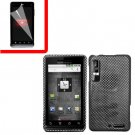 For Motorola Droid 3 XT862 Cover Hard Case Carbon Fiber +Screen 2-in-1