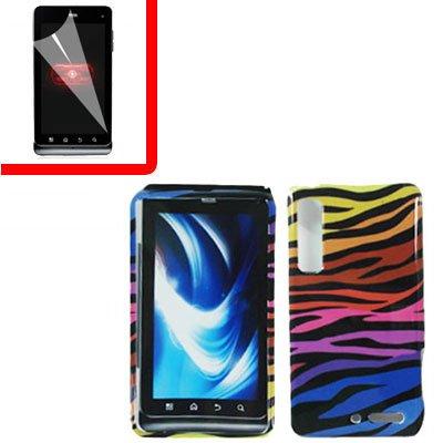 For Motorola Droid 3 XT862 Cover Hard Case C-Zebra +Screen 2-in-1