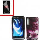 For Motorola Droid 3 XT862 Cover Hard Case L-Flower +Screen 2-in-1