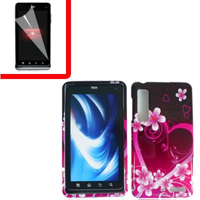 For Motorola Droid 3 XT862 Cover Hard Case Love +Screen 2-in-1