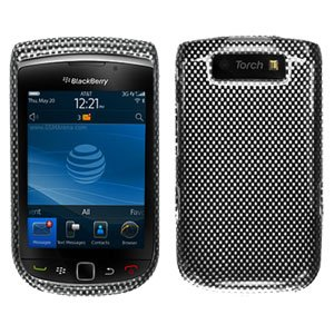 For BlackBerry Torch 9800 Cover Hard Case Carbon Fiber + Screen Protector
