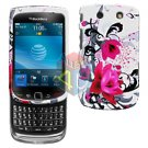 For BlackBerry Torch 9800 Cover Hard Case W-Flower+ Screen Protector