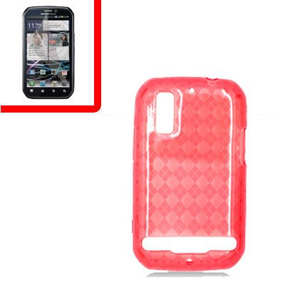 For Motorola Photon 4G/ Electrify MB855 Cover TPU Case D-Clear -Red +Screen 2-in-1