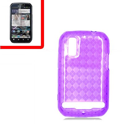 For Motorola Photon 4G/ Electrify MB855 Cover TPU Case D-Clear -Purple +Screen 2-in-1