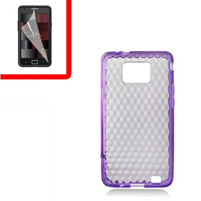 For Samsung Galaxy S II 4G TPU Case H-Clear Purple +Screen 2-in-1