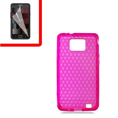 For Samsung Galaxy S II 4G TPU Case H-Clear Pink +Screen 2-in-1