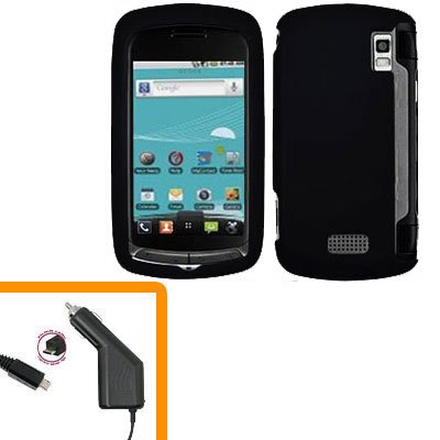For LG Genesis US760 Car Charger +Cover Hard Case Black 2-in-1