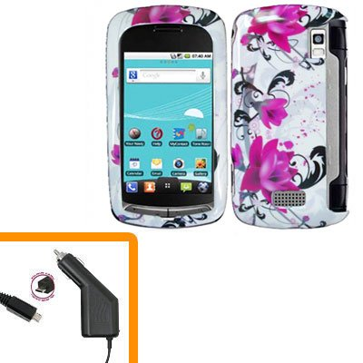 For LG Genesis US760 Car Charger +Cover Hard Case W-Flower 2-in-1