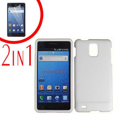 For Samsung Galaxy S Infuse 4G Cover Hard Case White +Screen Protector