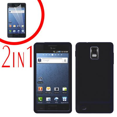 For Samsung Galaxy S Infuse 4G Cover Hard Case Black +Screen Protector