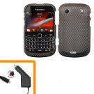 For BlackBerry Bold 9900 4G Car Charger + Cover Hard Case Carbon Fiber