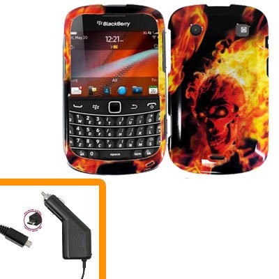 For BlackBerry Bold 9930 4G Car Charger + Cover Hard Case F-Skull
