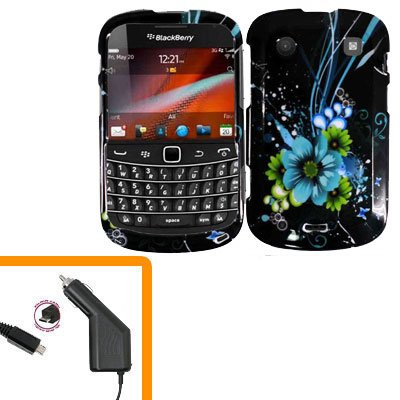 For BlackBerry Bold 9930 4G Car Charger + Cover Hard Case M-Flower