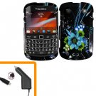 For BlackBerry Bold 9930 4G Car Charger + Cover Hard Case M-Flower