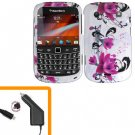 For BlackBerry Bold 9930 4G Car Charger + Cover Hard Case W-Flower
