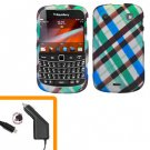 For BlackBerry Bold 9930 4G Car Charger + Cover Hard Case Plaid