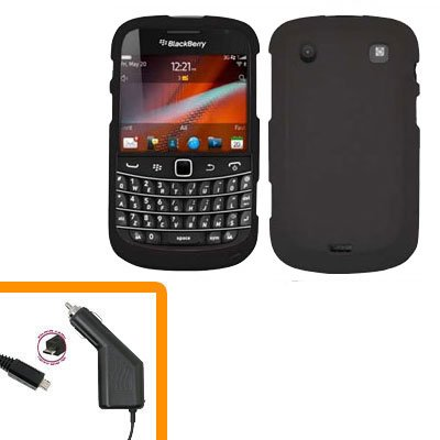 For BlackBerry Bold 9930 9900 4G Car Charger + Cover Hard Case Black