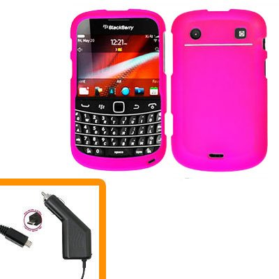 For BlackBerry Bold 9930 9900 4G Car Charger + Cover Hard Case H-Pink