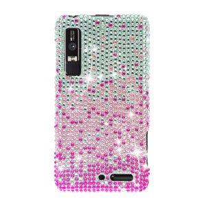 For Motorola XT860 4G / Droid 3 Cover Hard Case Crystal Bling Pink Splash