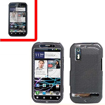 For Motorola Photon 4G MB855 Cover Hard Case Carbon Fiber +Screen 2-in-1