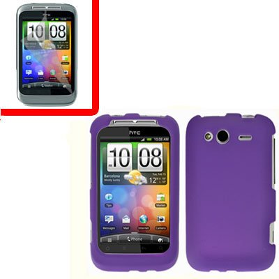 For T-Mobile HTC Wildfire S Cover Hard Case Purple + Screen Protector 2-in-1
