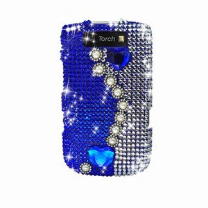 For BlackBerry Torch 9810 Cover Hard Case Rhinestones-Pearl / Blue