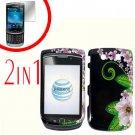 For BlackBerry Torch 9810 4G Cover Hard Case GR-Flower +Screen Protector