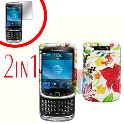 For BlackBerry Torch 9810 4G Cover Hard Case R-Flower +Screen Protector