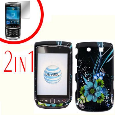 For BlackBerry Torch 9810 4G Cover Hard Case M-Flower +Screen Protector