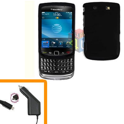 For BlackBerry Torch 9810 4G Car Charger + Cover Hard Case Black