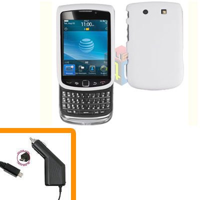 For BlackBerry Torch 9810 4G Car Charger + Cover Hard Case White