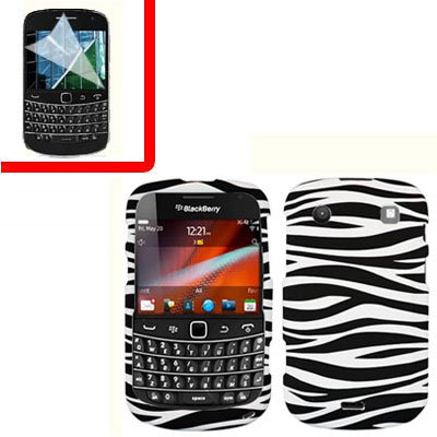 For BlackBerry Bold 9930 9900 4G Cover Hard Case Zebra +Screen