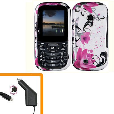 For LG Comos 2 VN251 Car Charger +Cover Hard Case W-Flower 2-in-1