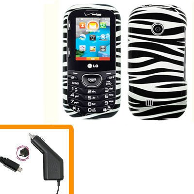 For LG Comos 2 VN251 Car Charger +Cover Hard Case Zebra 2-in-1