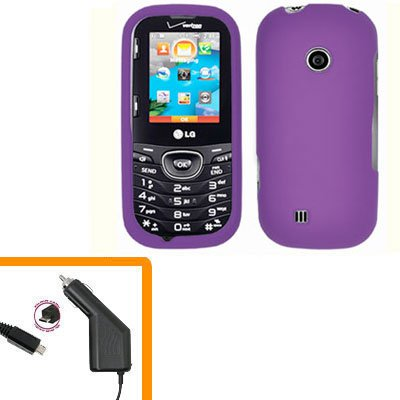 For LG Comos 2 VN251 Car Charger +Cover Hard Case Purple 2-in-1