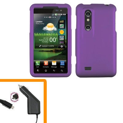 For HTC Thrill 4G / Optimus 3D Car Charger +Cover Hard Case Purple 2-in-1