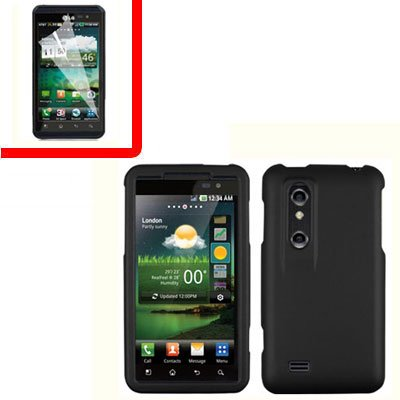 For LG Thrill 4G / Optimus 3D Cover Hard Case Black +Screen 2-in-1