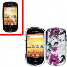 For Samsung Gravity Smart / Galaxy Q SGH-T589 Cover Hard Case W-Flower +Screen Protector