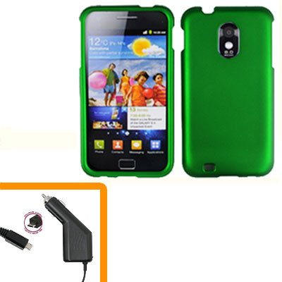 For Samsung Galaxy S II Epic 4G Touch Car Charger +Hard Case Green