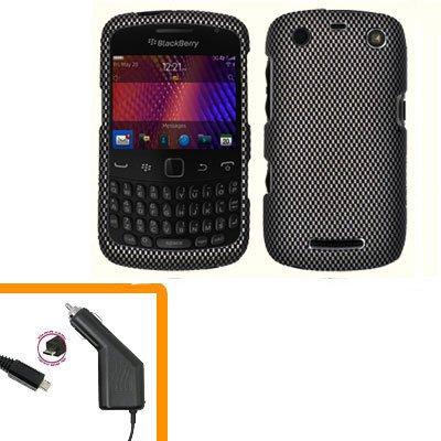 For BlackBerry Curve 9350 9360 9370 Car Charger + Cover Hard Case Carbon Fiber