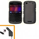 For BlackBerry Curve 9350 9360 9370 Car Charger + Cover Hard Case Carbon Fiber