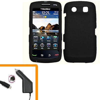 For BlackBerry Torch 9860 4G/ 9850 Car Charger + Cover Hard Case Black
