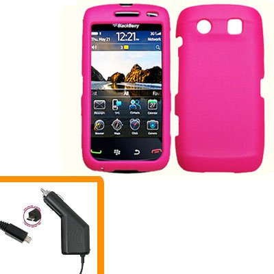 For BlackBerry Torch 9860 4G/ 9850 Car Charger + Cover Hard Case Hot Pink