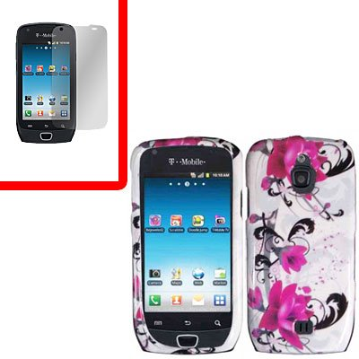 For Samsung Exhibit 4G T759 Cover Hard Case W-Flower +Screen Protector