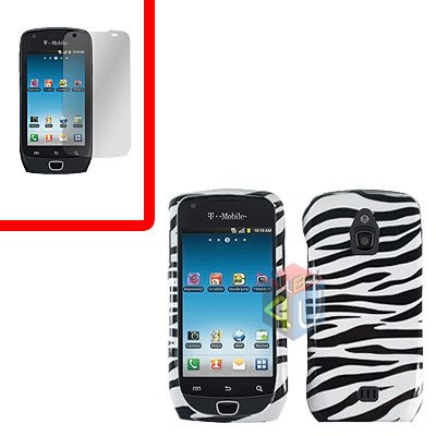 For Samsung Exhibit 4G T759 Cover Hard Case Zebra +Screen Protector