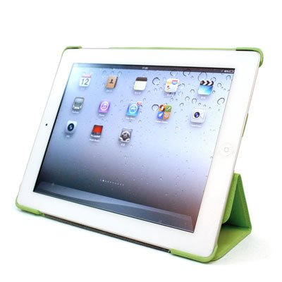 For Apple ipad 2 Cover Case w/ Smart Mode / Fold Stand #Neon Green Tri-Pad Shell