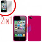 For Apple iPhone 4S 4 Cover Hard Case Rose Pink +Screen 2-in-1